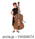 コントラバスを弾く女性のベクターイラスト 59488674