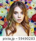 beauty blond girl in flowers 59490283