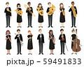 楽器を持った男女の演奏家たちのべクターイラスト 59491833