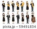 楽器を持った男女の演奏家たちのべクターイラスト 59491834