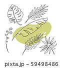 Hand drawn linear collection with tropical leaves 59498486