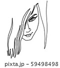 Continuous line drawing. Abstract portrait of a woman up view. Vector illustration. 59498498