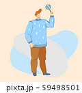 Vector cartoon illustration of man showing done or ready sign. Checklist, check, vote, questionnaire 59498501