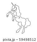 Magic unicorn linear vector illustration. Thin flat line art design to make unicorn party poster 59498512