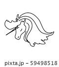 Magic unicorn linear vector illustration. Thin flat line art design to make unicorn party poster 59498518