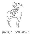 Magic unicorn linear vector illustration. Thin flat line art design to make unicorn party poster 59498522