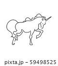 Magic unicorn linear vector illustration. Thin flat line art design to make unicorn party poster 59498525