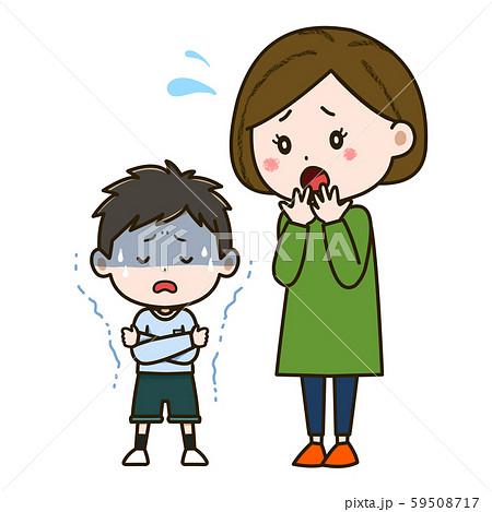 悪寒がする男の子と心配そうな母親 イラスト 59508717