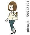 エコバッグで買い物をする女性-水彩 59512191