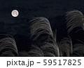 中秋の名月 十五夜 ススキと満月 イメージ素材 59517825