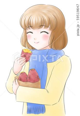 焼き芋女子・アイボリーのコート・にっこり 59519647
