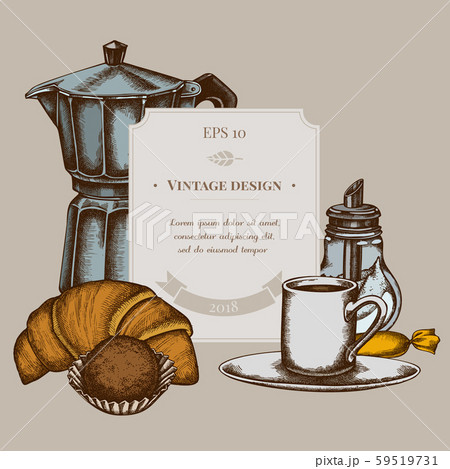 Badge design with colored candies, croissants and bread, espresso cup, coffee pot, sugar bowl 59519731