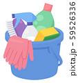 バケツに詰めた掃除用具のイラスト_ゴム手袋 59526336