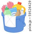 バケツに詰めた掃除用具のイラスト_雑巾 59526429