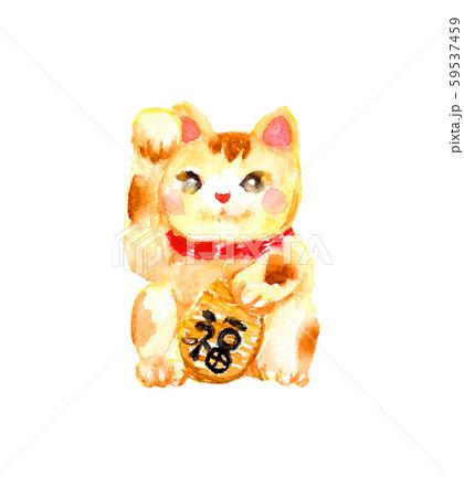 招き猫 縁起物 イラスト 水彩 招福 59537459