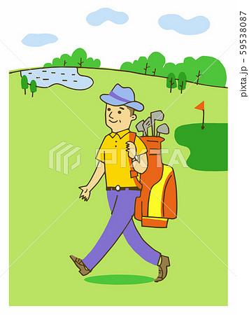 ゴルフ場を歩くシニア男性 59538087
