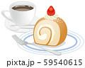 ロールケーキとコーヒーのイメージイラスト 59540615