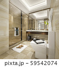 3d rendering modern bathroom with luxury tile decor 59542074