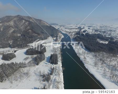 秋田県大仙市 中仙地域の冬の空撮 玉川・八乙女山 59542163