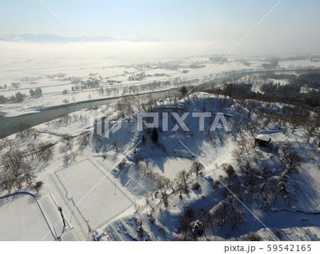 秋田県大仙市 中仙地域の冬の空撮 八乙女公園 59542165