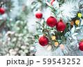Christmas ornaments decorating on Christmas snowy 59543252