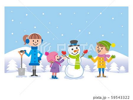 子供たち 雪遊び イラスト  59543322