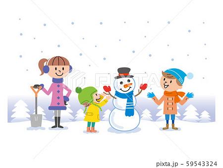 子供たち 雪遊び イラスト  59543324