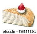 水彩で描いたいちごのミルクレープ 59555891