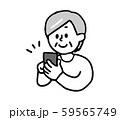 スマートフォンを操作するシニア女性(シンプル) 59565749