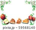 水彩で描いたりんごとアップルパイ 59568140