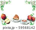 水彩で描いたりんごとアップルパイ 59568142