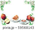 水彩で描いたりんごとアップルパイ 59568143