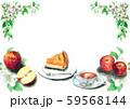 水彩で描いたりんごとアップルパイ 59568144