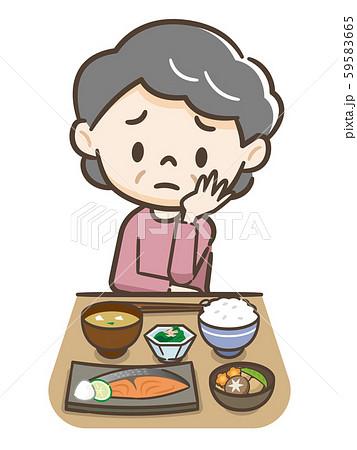 食欲不振のシニア女性 59583665