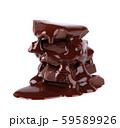 Chocolate pieces stack and chocolate syrup isolated on white background. Close up. 59589926
