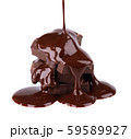 Chocolate pieces stack and chocolate syrup isolated on white background. Close up. 59589927