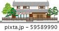 塀付和風家屋27縁取りあり 59589990