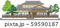 塀付和風家屋3縁取りあり 59590187