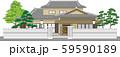 塀付和風家屋2縁取りあり 59590189