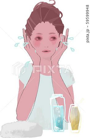 保湿ケアをする女性のイラスト 59599948