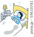 ベッドですやすや眠る女性 59610781