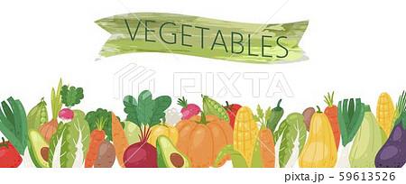 Organic vegetables vector illustration banner. Healthy life, organic vegetables food. Cartoon 59613526