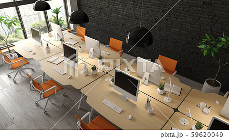 Interior of modern office room 3D rendering 59620049
