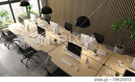 Interior of modern office room 3D rendering 59620053