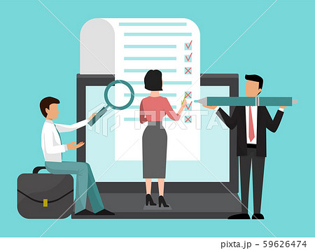 Business people team fill out a big form with checkboxes vector illustration. Checklist on clipboard 59626474