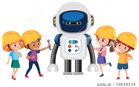 Group of children playing with robot 59638534