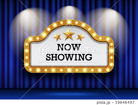 Cinema Theater blue curtains sign now showing 59646497