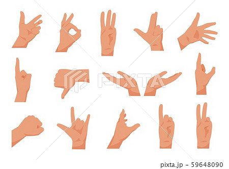Flat hands. Cartoon human hands showing thumbs up, pointing and greeting. Vector isolated collection 59648090
