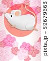 白ねずみ年賀状、梅の花、文字なし 59679663