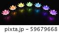 チャクラ色の蓮のキャンドル 59679668
